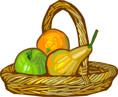 basket of fruit Royalty Free Vector Clip Art illustration vc027888
