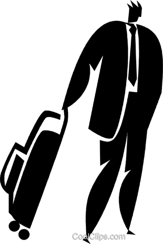 businessman with luggage Royalty Free Vector Clip Art illustration vc027897