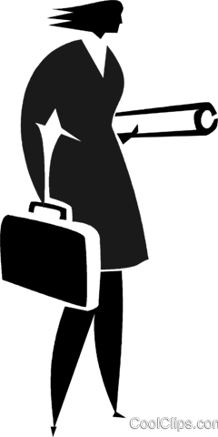 businesswoman with a briefcase Royalty Free Vector Clip Art illustration vc027908