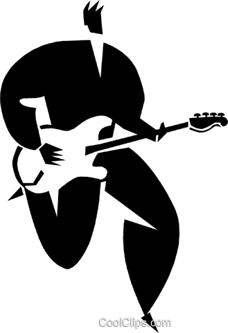 person playing the guitar Royalty Free Vector Clip Art illustration vc027914
