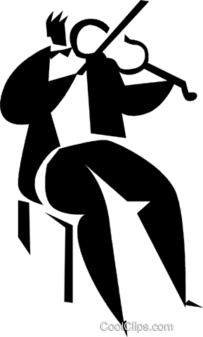 person playing the violin Royalty Free Vector Clip Art illustration vc027923