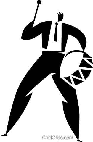 man playing the drum Royalty Free Vector Clip Art illustration vc027926