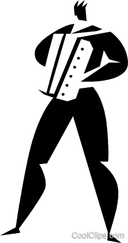 man playing an accordion Royalty Free Vector Clip Art illustration vc027927