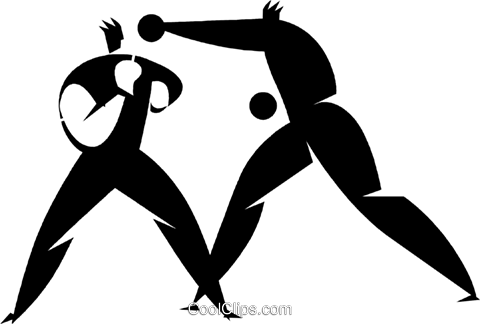 Boxers in a match Royalty Free Vector Clip Art illustration vc027956