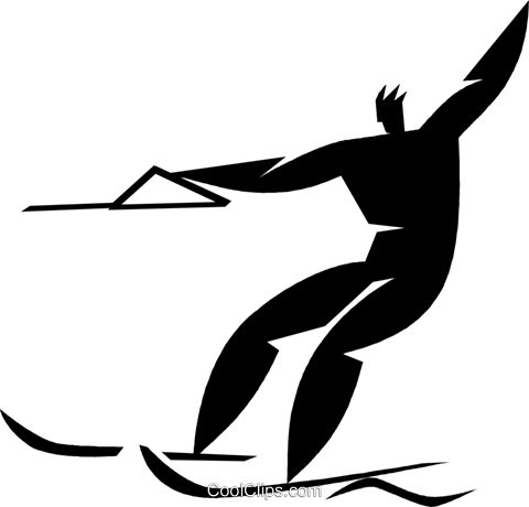 water skiing Royalty Free Vector Clip Art illustration vc027958