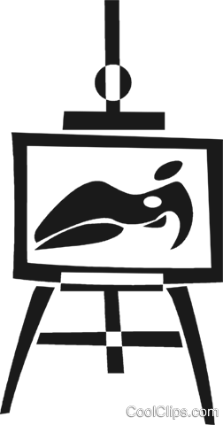 easel and picture Royalty Free Vector Clip Art illustration vc028225