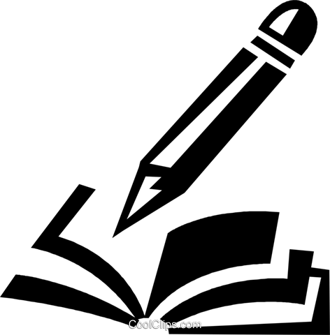 book and pencil Royalty Free Vector Clip Art illustration vc028355