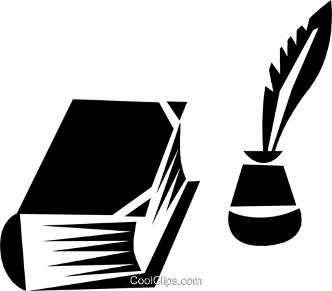 book an bottle of ink with a feather pen Royalty Free Vector Clip Art illustration vc028377