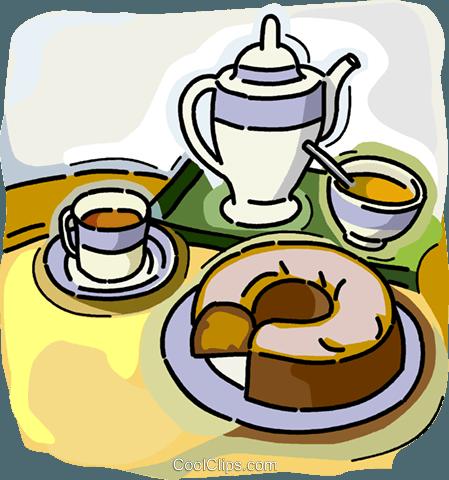 Kaffeekanne Und Tassen Mit Kaffee Kuchen Vektor Clipart Bild