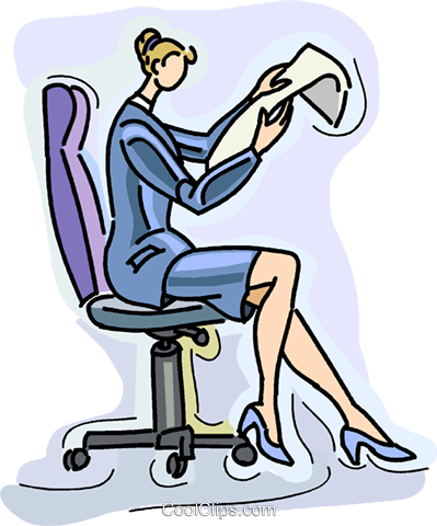 businesswoman reading report Royalty Free Vector Clip Art illustration vc028951