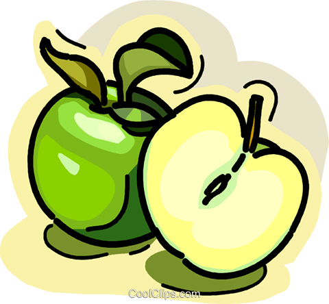 Sliced apple Royalty Free Vector Clip Art illustration vc028957
