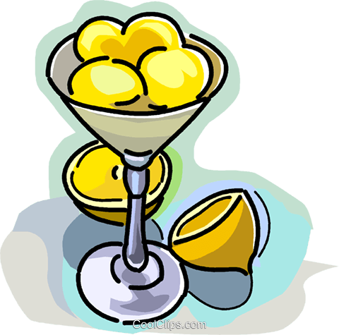 Lemons in a dessert bowl Royalty Free Vector Clip Art illustration vc028965