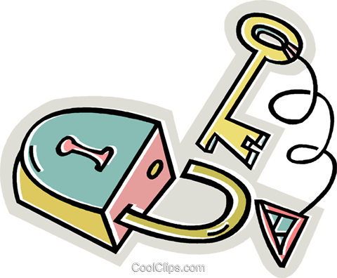 lock and key Royalty Free Vector Clip Art illustration vc028974