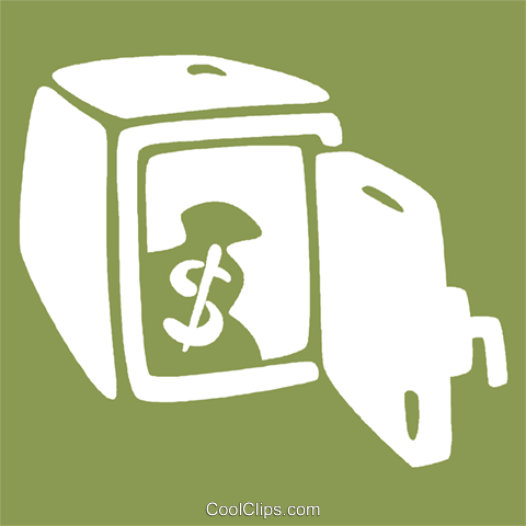 safe with a bag of money in it Royalty Free Vector Clip Art illustration vc029026