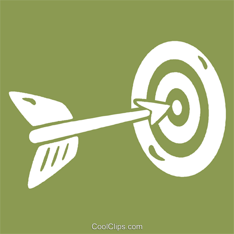 arrow hitting the target Royalty Free Vector Clip Art illustration vc029042