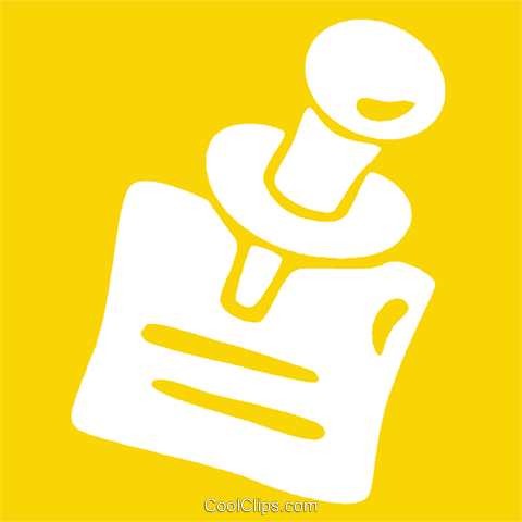 push pin holding up a piece of paper Royalty Free Vector Clip Art illustration vc029063