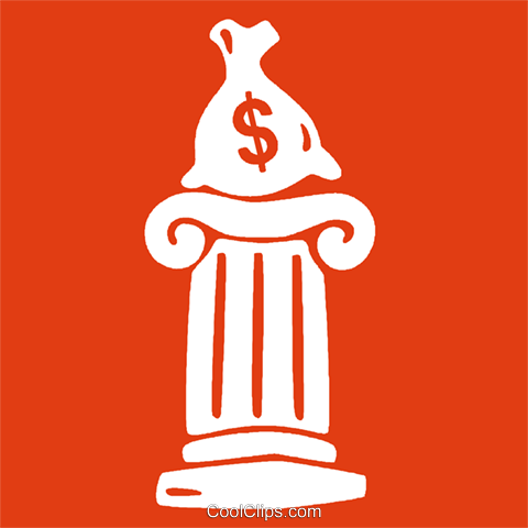 bag of money on a column Royalty Free Vector Clip Art illustration vc029081