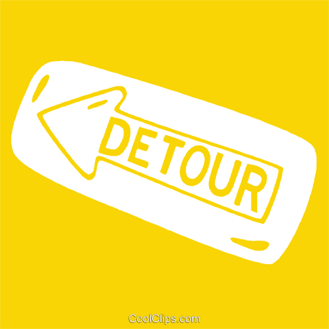 detour signs Royalty Free Vector Clip Art illustration vc029119