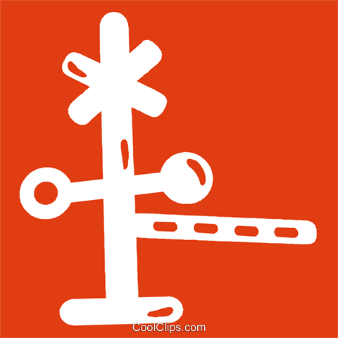 railway crossing Royalty Free Vector Clip Art illustration vc029194
