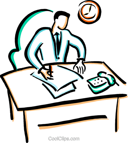 office worker doing paper work Royalty Free Vector Clip Art illustration vc029381