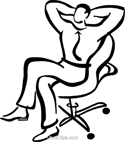 man relaxing at work Royalty Free Vector Clip Art illustration vc029382