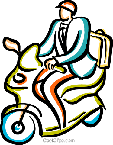 businessman on a motor scooter Royalty Free Vector Clip Art illustration vc029384