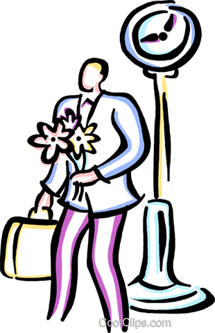 man standing with a bouquet of flowers Royalty Free Vector Clip Art illustration vc029385