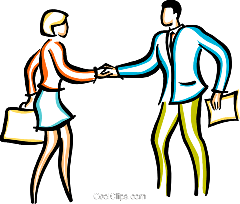 man and woman shaking hands Royalty Free Vector Clip Art illustration vc029386