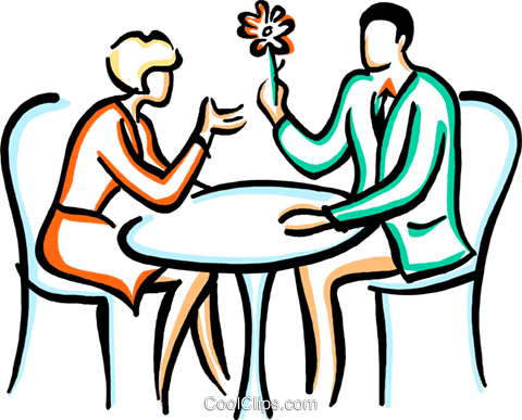 couples enjoying a conversation Royalty Free Vector Clip Art illustration vc029389