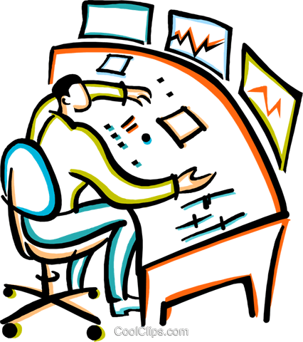man working at a mixing board Royalty Free Vector Clip Art illustration vc029391