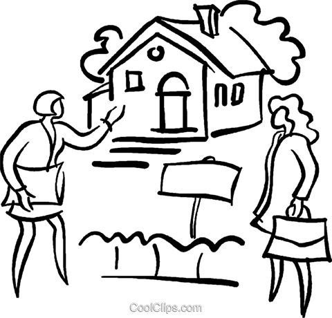 real estate agent showing a home Royalty Free Vector Clip Art illustration vc029416