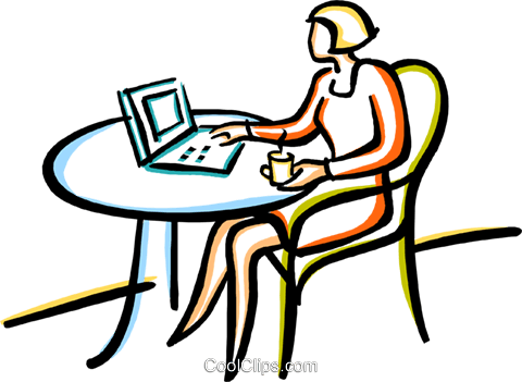 woman with a cup of coffee working Royalty Free Vector Clip Art illustration vc029423