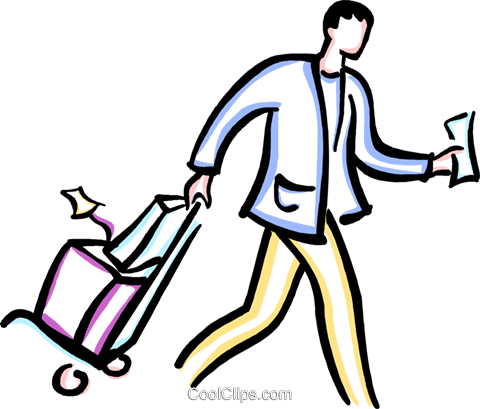 man walking with luggage Royalty Free Vector Clip Art illustration vc029425