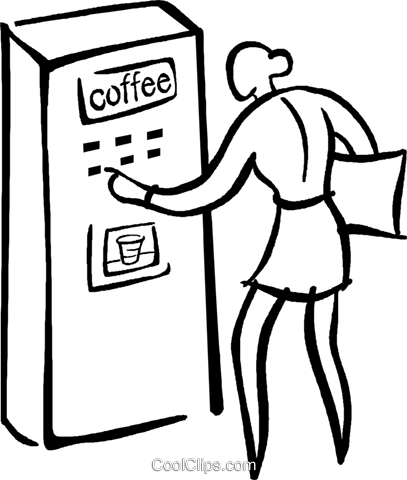 woman buying a coffee Royalty Free Vector Clip Art illustration vc029428