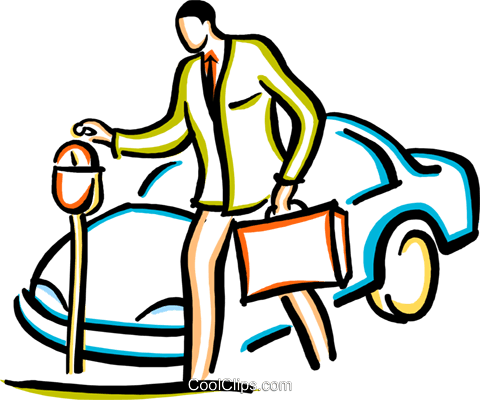 man putting money into a parking meter Royalty Free Vector Clip Art illustration vc029431