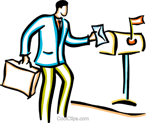 man mailing a letter Royalty Free Vector Clip Art illustration vc029433