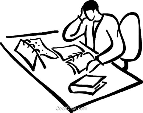 office clerk working at his desk Royalty Free Vector Clip Art illustration vc029444