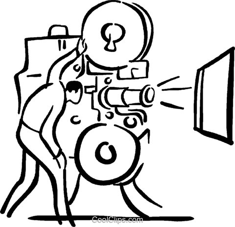 movie projector and operator Royalty Free Vector Clip Art illustration vc029448