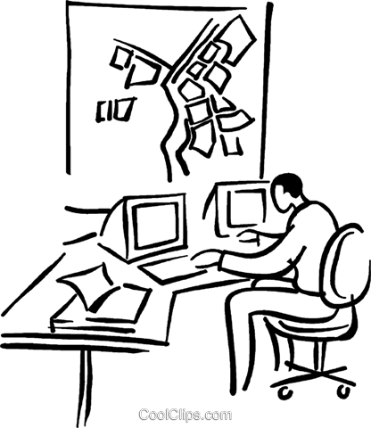 businessman working at the computer Royalty Free Vector Clip Art illustration vc029449