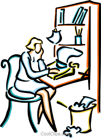 woman typing a letter Royalty Free Vector Clip Art illustration vc029455