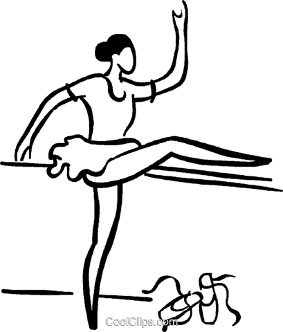 ballerina stretching Royalty Free Vector Clip Art illustration vc029462
