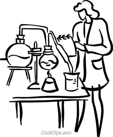 female research scientist Royalty Free Vector Clip Art illustration vc029464