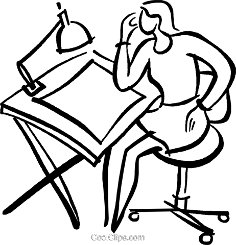 drafting table Royalty Free Vector Clip Art illustration vc029471