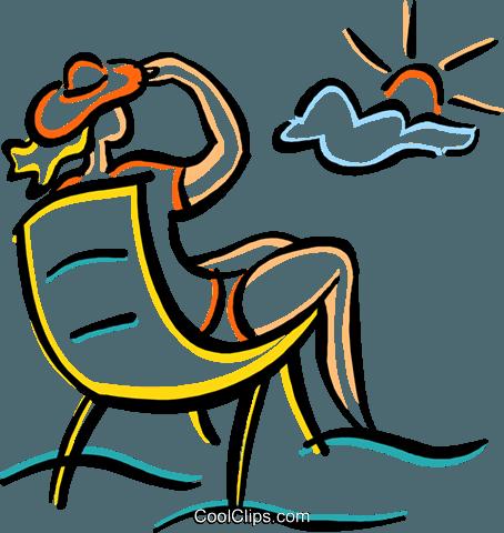 frau am strand entspannen in einem stuhl vektor clipart. Black Bedroom Furniture Sets. Home Design Ideas