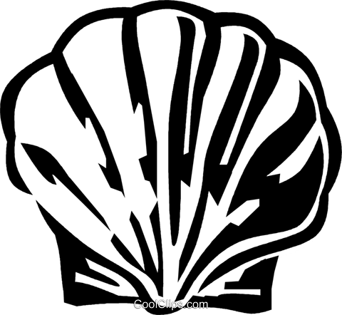 scallop shell Royalty Free Vector Clip Art illustration vc029517