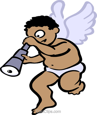 cupid looking through a telescope Royalty Free Vector Clip Art illustration vc029533