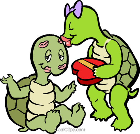 turtles in love Royalty Free Vector Clip Art illustration vc029534