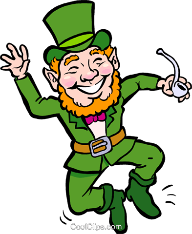Leprechaun with pipe clicking his heels Royalty Free Vector Clip Art illustration vc029541