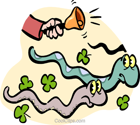 St. Patrick chasing out snakes Royalty Free Vector Clip Art illustration vc029549