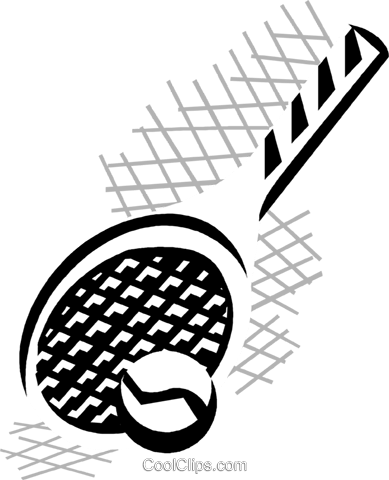 tennis ball and racket Royalty Free Vector Clip Art illustration vc029836